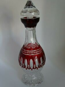 DECANTER WINE GLASS AJKA HUNGARY CRYSTAL COLORED PATERN CLARENDON RED