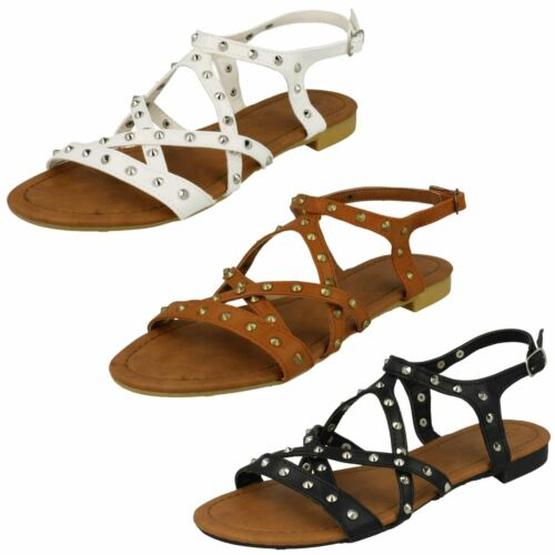 Ladies Spot On Flat Studded Ankle Strap /'Sandals/'