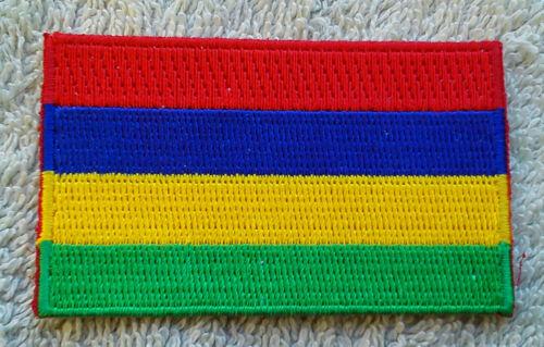 MAURITIUS FLAG PATCH Embroidered Badge Iron Sew 3.8 x 6cm République de Maurice