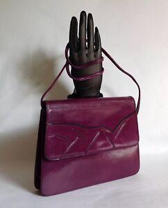 RAYNE-Vintage-1980s-Purple-Leather-Shoulder-Bag-Clutch-Bag-With-Detachable-Strap