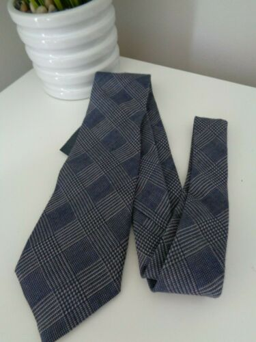 BNWT GANT Navy Prince of Wales Check Pattern Woven Wool Tie 8cm