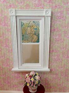 Blue Iris Dollhouse Miniature Victorian Style Stained Glass Window film