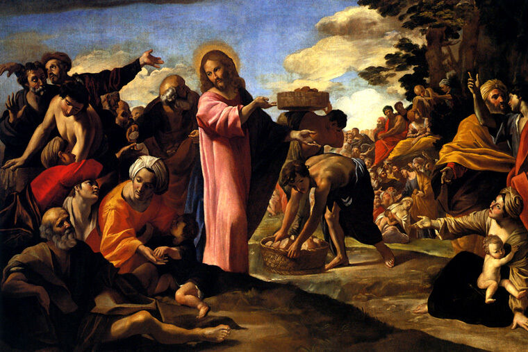 THE MULTIPLICATION OF LOAVES BREAD JESUS PAINTING BY GIOVANNI LANFRANCO REPRO
