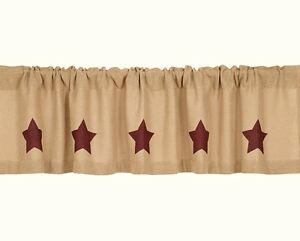 New Primitive Country Cotton Burlap Wine Barn Red Star