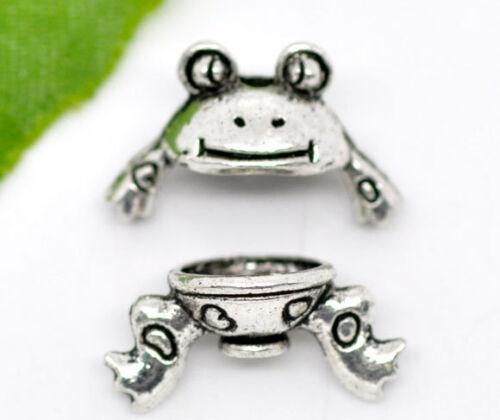 LP 30Sets Antiksilber Frosch Perlen Beads Ende Kappen15x9mm