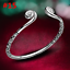 Women-925-Sterling-Solid-Silver-Bangle-Chain-Crystal-Cuff-Bracelet-Charm-Jewelry thumbnail 27