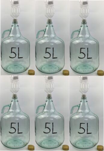 6 x SET 5L Flasche Stopfen Gärröhrchen Weinballon