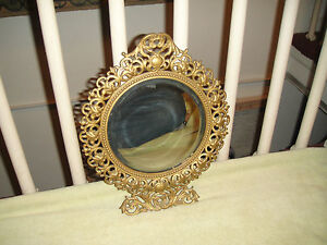 Antique-Victorian-Style-Beveled-Glass-Wall-Mirror-Gilded-Brass-Frame-Detailed