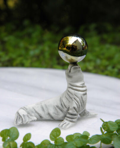 Miniature Dollhouse FAIRY GARDEN Accessories ~ Gray Seal with Gazing Ball ~ NEW