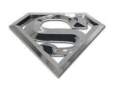 SUPERMAN 3D SILVER CHROME METAL AUTO EMBLEM car truck decal badge DC Comics
