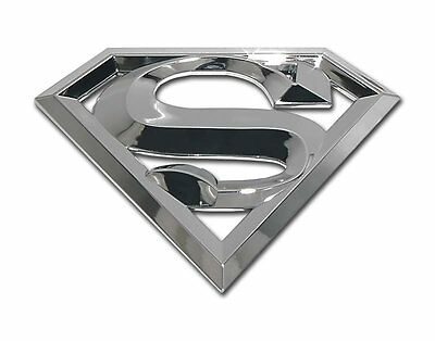 new! SUPERMAN 3D SILVER CHROME METAL AUTO EMBLEM car truck decal DC Comics