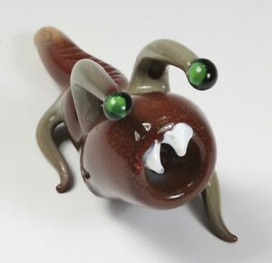 "6.5"" Handblown Brown Slug Monster Ribbed Art Glass Hand Smoking Spoon Bowl Pipe"