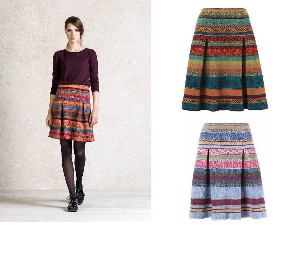 IVKO Skirt Jacquard Skirt Pleats Merino-Wool Wool Cherry Red bluee Stone 62526