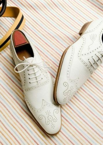 Mens Handmade Fashion Wingtip White Formal Dress Genuine Leather Sole shoes