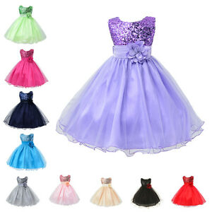 Flower-Girl-Kids-Tutu-Dress-Sequins-Princess-Party-Wedding-Bridesmaid-Tulle-Gown