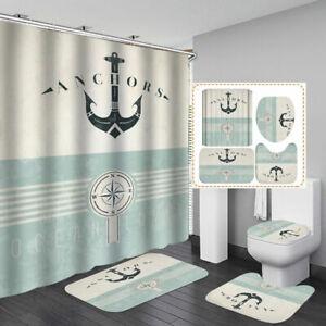 Anchor Door Bath Mat Toilet Cover Rugs Shower Curtain Nautical Bathroom Decor Ebay