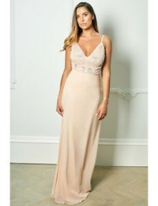 BNWT-SISTAGLAM-JESSICA-ROSE-JANICEY-NUDE-STRAPPY-Maxi-Dress-UK-8-RRP-100