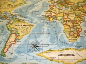 World Atlas Wipe Clean Oilcloth Tablecloth Round Rectangle Cover Duck Egg Maps