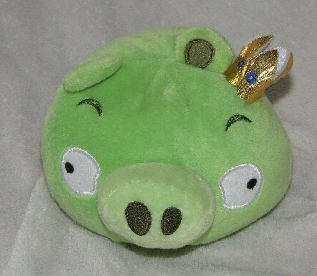 ANGRY BIRDS KING PIG STUFFED PLUSH DOLL TOY 2010 COMMONWEALTH ROVIO GREEN SOUNDS