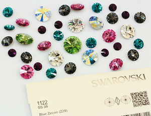 Genuine-SWAROVSKI-1122-Rivoli-Foiled-Round-Stones-Glue-Fix-All-Sizes-amp-Colors
