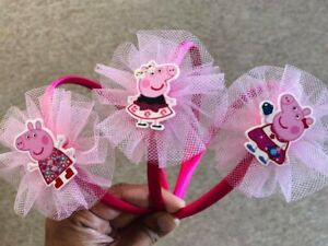 Peppa Pig Three Pack of Girls Elasticated Hairbands Red White and Blue