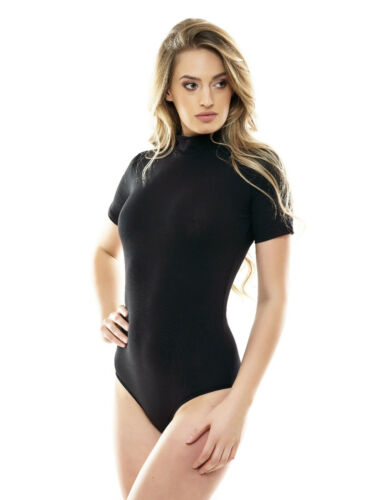 Short Sleeve Bodysuit Women Leotard Lingerie Top Blouse Bodie Turtleneck Shirt