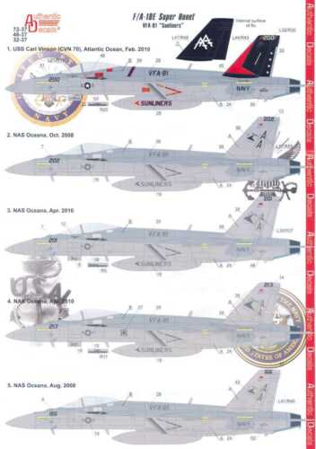 Authentic Decals BOEING F//A-18E SUPER HORNET SUNLINERS