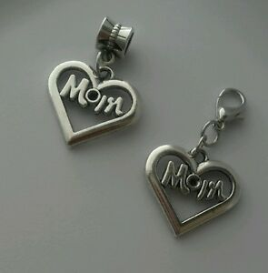 Mom-Heart-Dangle-Charm-Bead-Fits-European-Bracelet-Necklace-Or-Clip-On-Charm