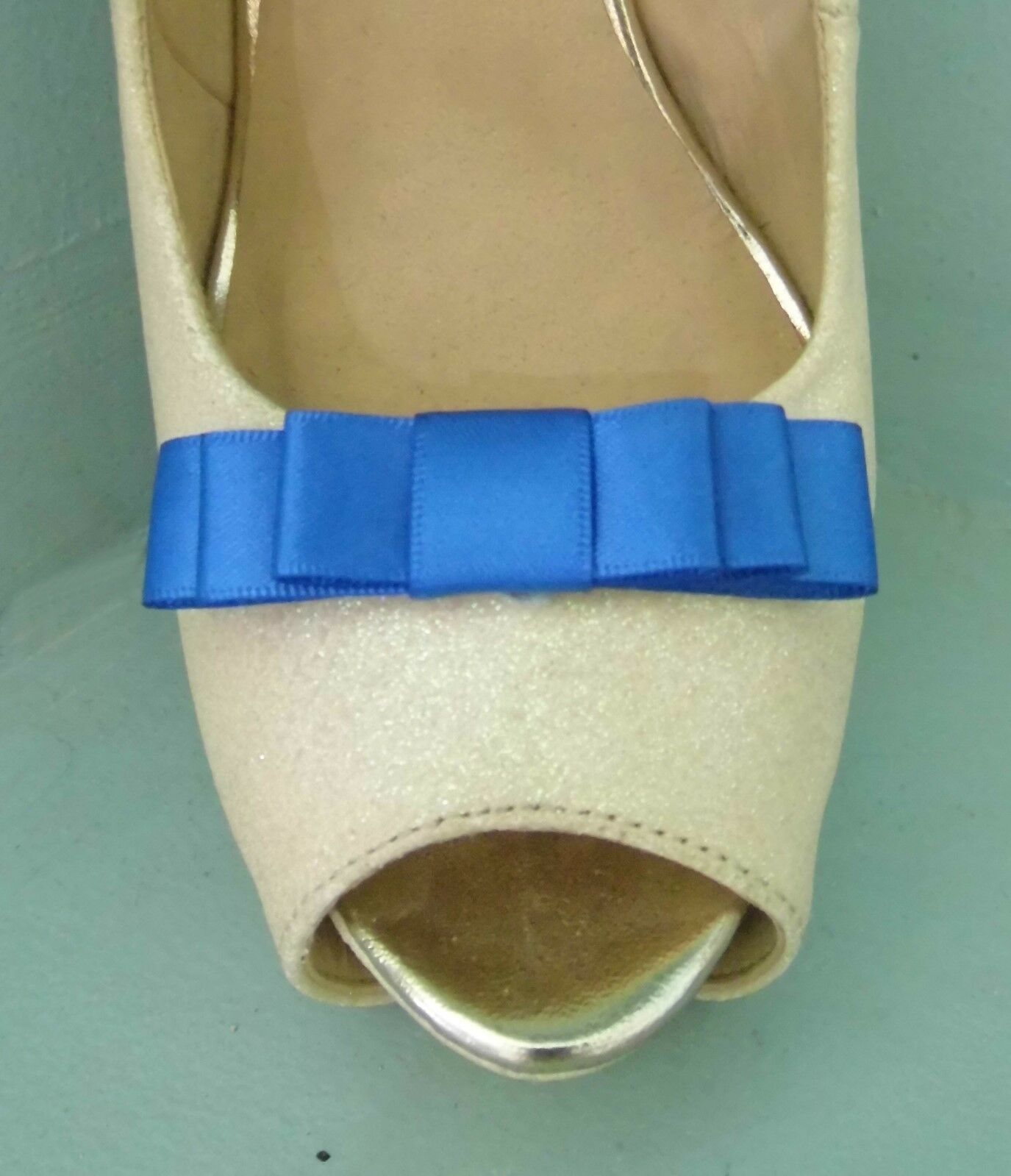 2 Small Royal Blue Triple Bow Clips for Shoes - other colours on request