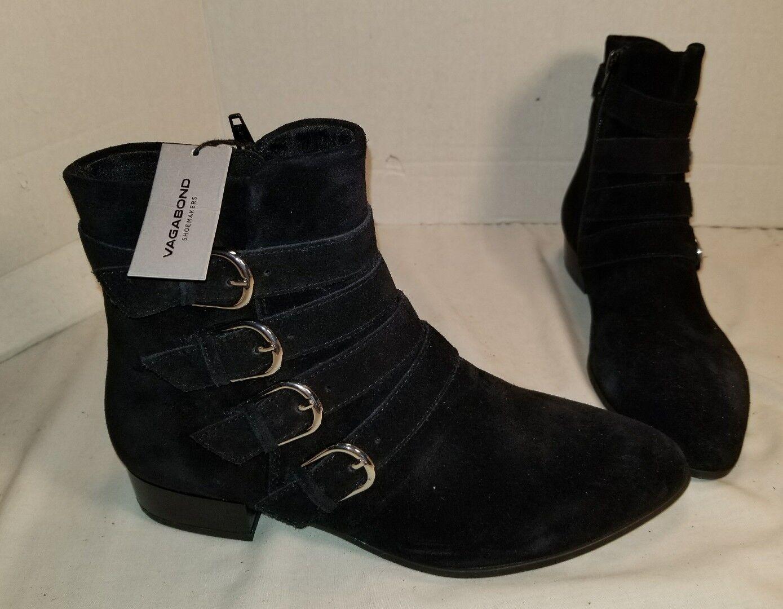 Nuevo Para mujeres Vagabond Gigi botas al Tobillo Hebilla De Gamuza Negra US 9