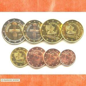 Kursmuenzensatz-Zypern-2009-1c-2-Euro-Muenze-KMS-alle-8-Muenzen-Satz-Eurosatz-Set