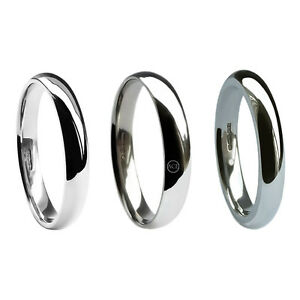 6mm 9ct White Gold Court Profile Wedding Rings 375 Med Heavy X Heavy UK HM Bands