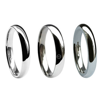 3mm 9ct White Gold Court Comfort Wedding Rings Bands Uk Hm Med Heavy X Heavy H-q