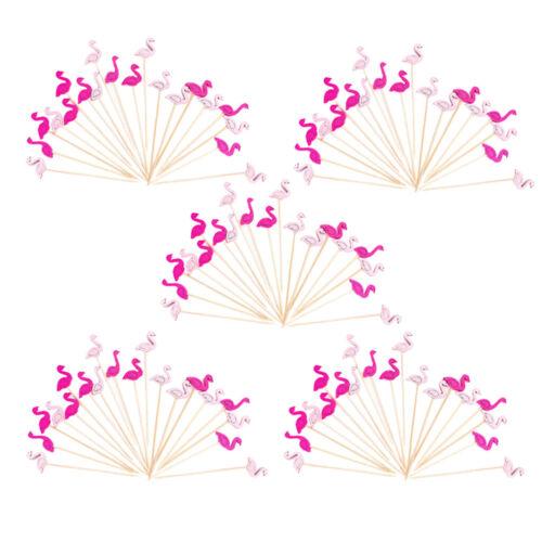 100 x Vivid Flamingo Shape Appetizer Toothpicks Bamboo Cocktail Sticks Decor