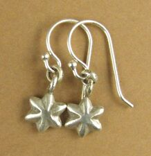 Tiny star shape earrings. Shaped. Solid fine and sterling silver 925. Handmade.