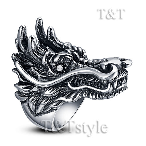 High Quality TT 316L Stainless Steel Dragon Ring Size 9-12 RZ01