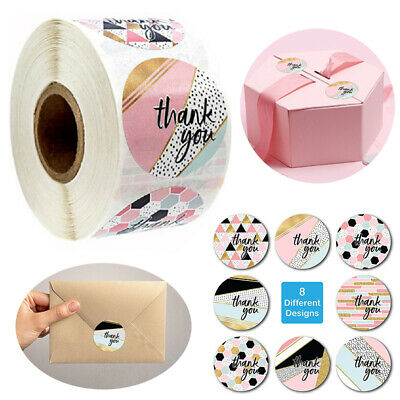 X500 Thank You Stickers For Your Purchase Business Labels Round Heart Wedding UK