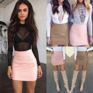 Fashion-Women-Sexy-Bandge-Leather-High-Waist-Pencil-Bodycon-Short-Mini-Skirts