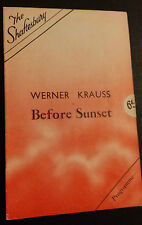 SHAFTESBURY THEATRE: WERNER KRAUSS - JOYCE BLAND in BEFORE SUNSET