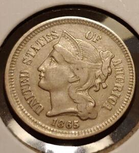 "1865 Three Cent Nickel ""High Grade"" Civil War Date (Bright shiny Coin)"