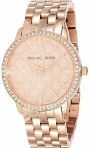 Details about NWT Michael Kors Women's MK3156 Glitz Rose Gold Stainless Steel Bracelet Watch