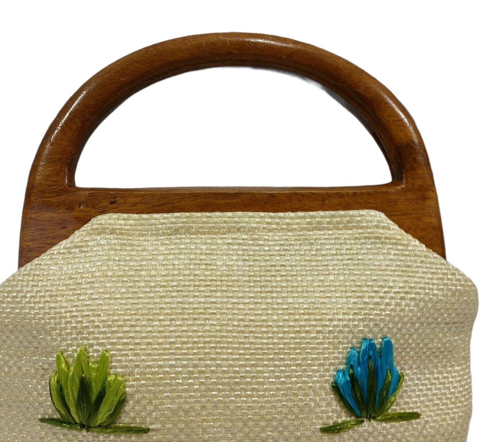 Vintage 60s Raffia Handbag Floral Print Top Handl… - image 8