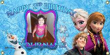 personalized birthday banner 2'x4' frozen anna elsa hello kitty princess custom