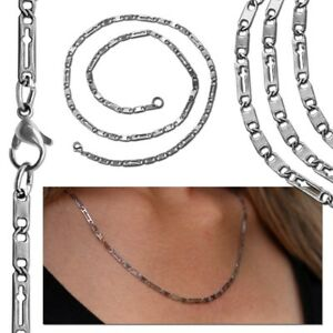 Gliederkette-Duenn-Schlangenkette-Halskette-Damen-Kette-Anhaenger-Silber-Edelstahl
