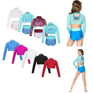 Girl-Kid-Dance-Outfit-Ballet-Gymnastics-Lace-Crop-Top-Briefs-Mock-Neck-Dancewear