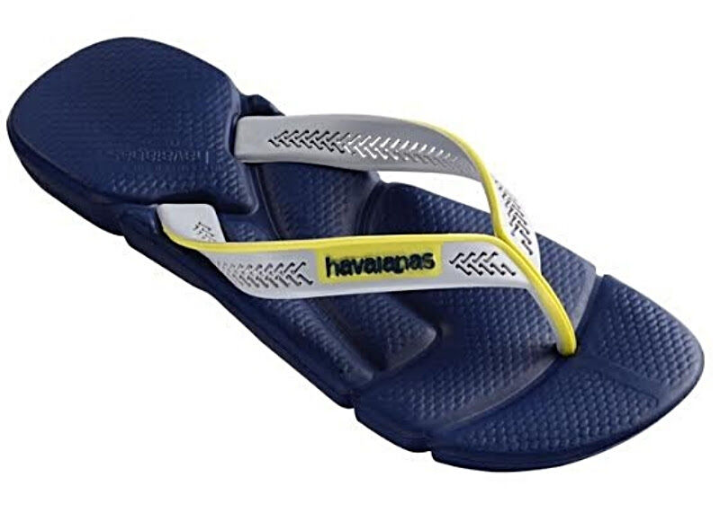 Havaianas Men`s Brazilian Flip Flops Power Sandals Navy Blue / Ice Grey NWT