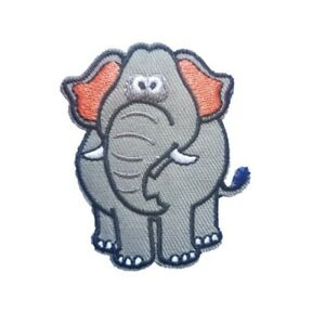 Grey-Cartoon-Elephant-Iron-On-Patch-Sew-on-Embroidered-New-Cute-Elephant