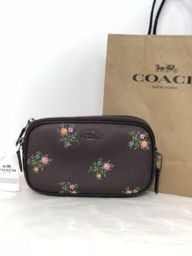 NWT Coach 22836 Oxblood Cross Stitch Floral Print Zip Crossbody Clutch Bag $175