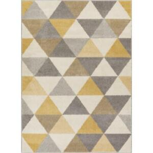 Details About Well Woven Mystic Gold Grey Flat Weave Geometric Area Rug 60 X 90cm