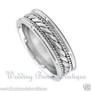 14K WHITE GOLD BRAIDED MENS WEDDING BAND TWISTED ROPE MANS MEN TWIST